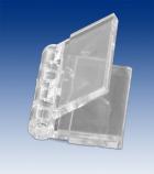 Clear plastic hinge